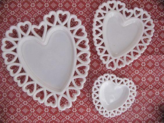 Three Milk Glass Heart-Shaped Dishes
