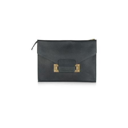 Sophie Hulme Envelope oversized textured-leather clutch