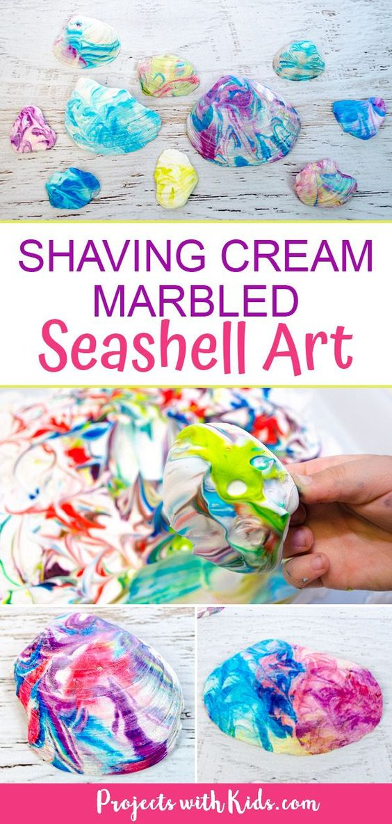 Kids will love to make this fun shaving cream marbled seashell art to decorate their beach finds this summer! A super easy summer craft for kids of all ages. #summercrafts #beachcrafts #shellcrafts #projectswithkids