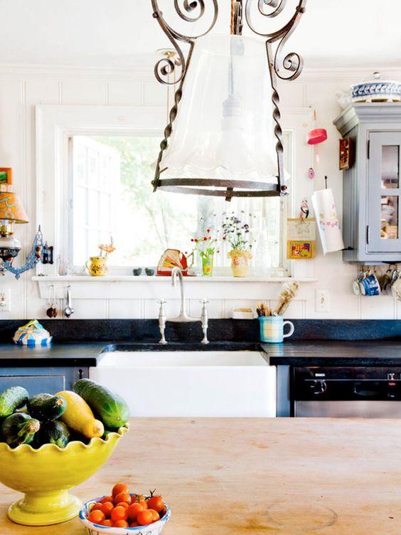 Especially the vintage chandelier. #kitchen #interior #design #details #decor