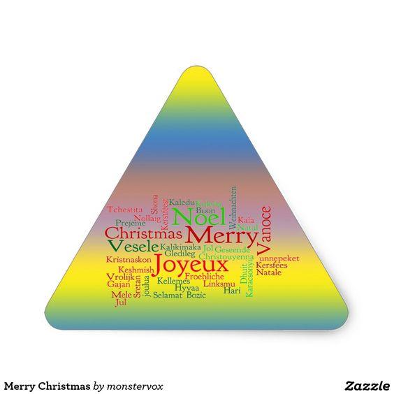 Merry Christmas Triangle Sticker #MerryChristmas #Christmas #Holiday #Sticker #Triangle