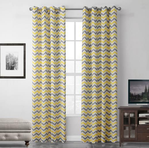Yellow And Gray Chevron Zig Zag Living Room Curtains Geometric Curtains Living Room Window Curtains Living Room Grey Curtains Living Room