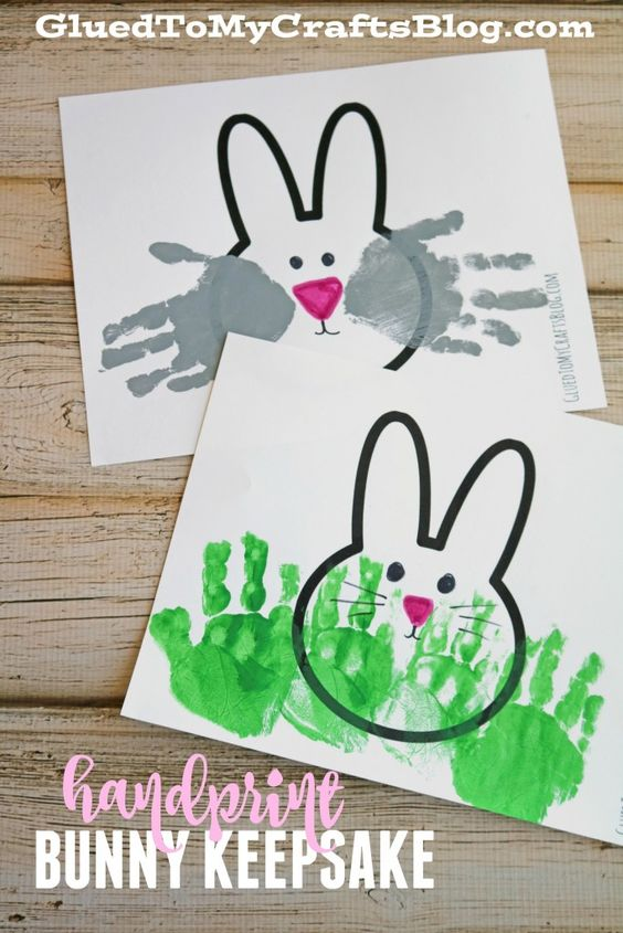 Handprint Bunny Keepsakes w/free printable template: