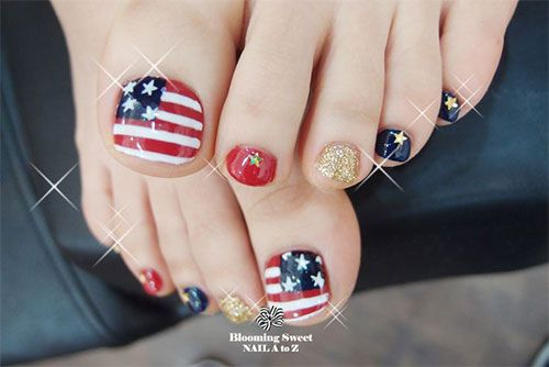 ten Cute Fourth Of July Toe Nail Art Designs, Suggestions, Trends & Stickers 2015 | 4th Of July Nails | Nail Design: