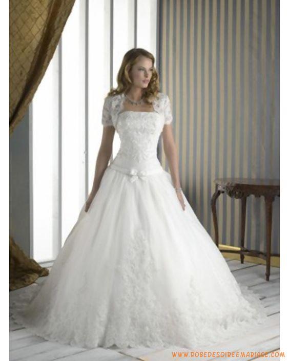 Robe de mariée princesse bustier dentelle boléro  Robe de mariée ...