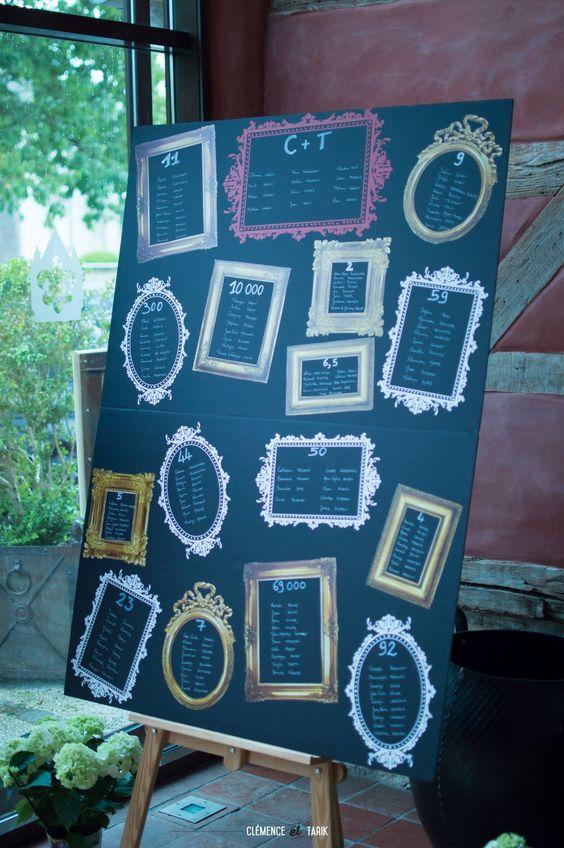 Plan des tables  Cadres en stickers sur panneau noir