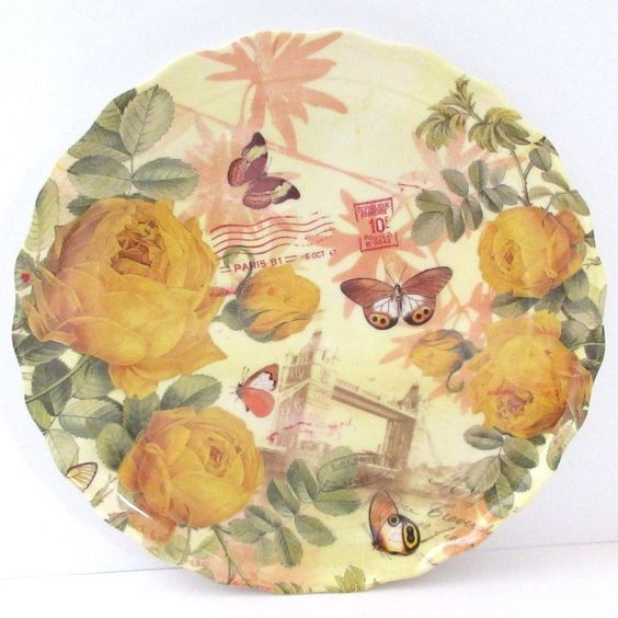 Yellow Roses Butterflies Melamine 9 in. Round Scallop Plate Paris London Plastic