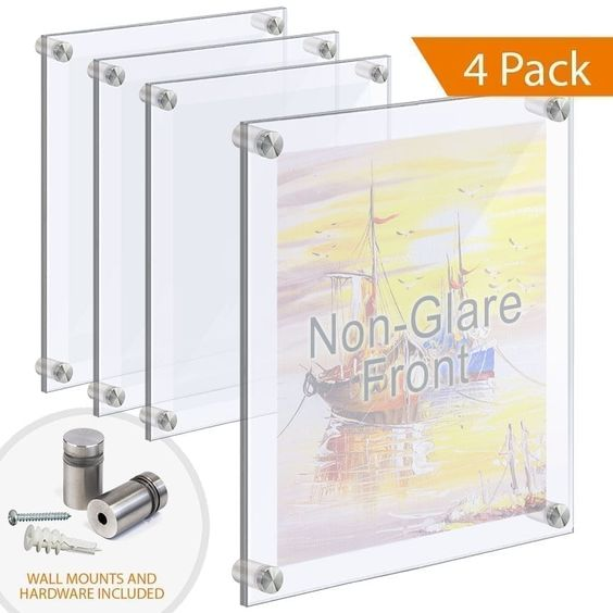 Large Format Acrylic Poster Frames With Non Glare Front On Standoffs In 2020 Poster Frame Floating Acrylic Frame Frames On Wall