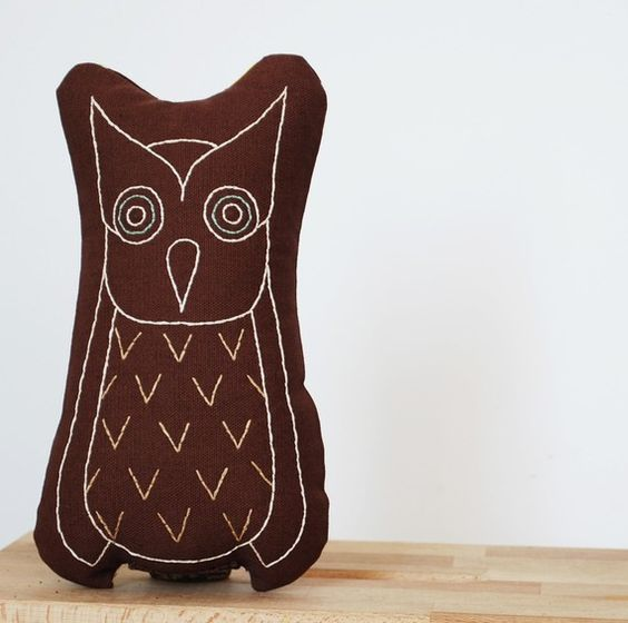 embroidered owl pillow in brown | Kate Durkin