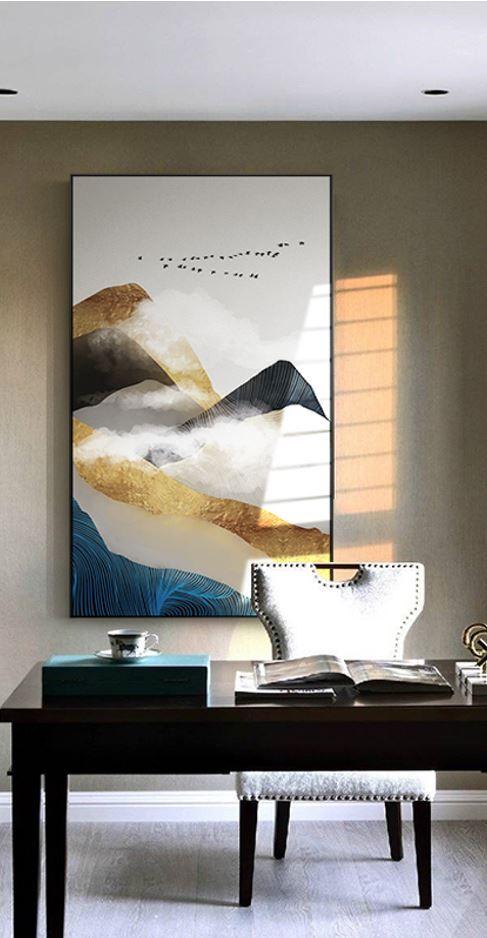 Nordic Golden Mountain Abstract Wall Art Hd Beautiful Wall Arts