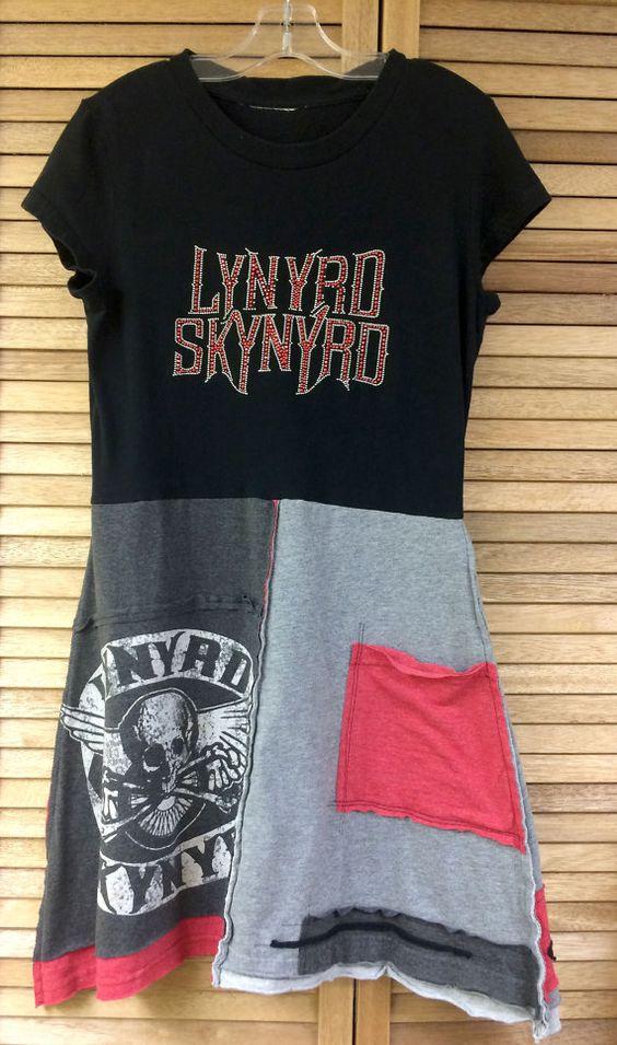 Lynyrd Skynyrd upcycled dress, womens festival clothing, country music dress
