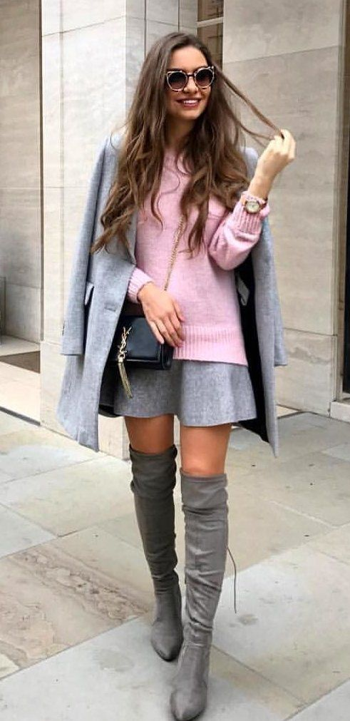 #winter #outfits pink sweater with gray skirt and dress coat