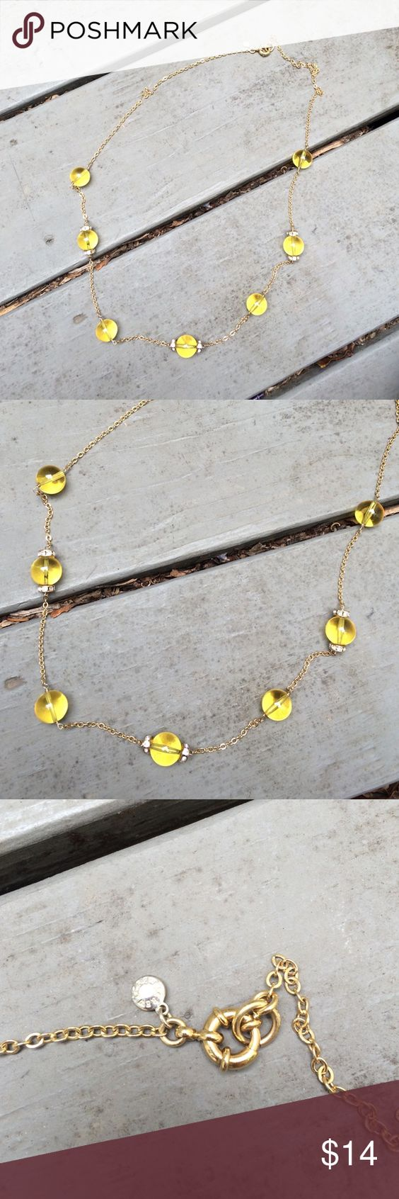 """J. CREW Yellow bead gold tone Necklace Used a few times. Gold tone necklace with yellow beads and faux crystals. Goes past my bust when wearing. Length 17.5"""" when worn. Total length of 35"""". J. Crew Jewelry Necklaces"""