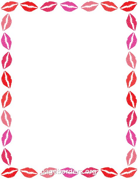 Printable lips border. Use the border in Microsoft Word or other programs for creating flyers ...