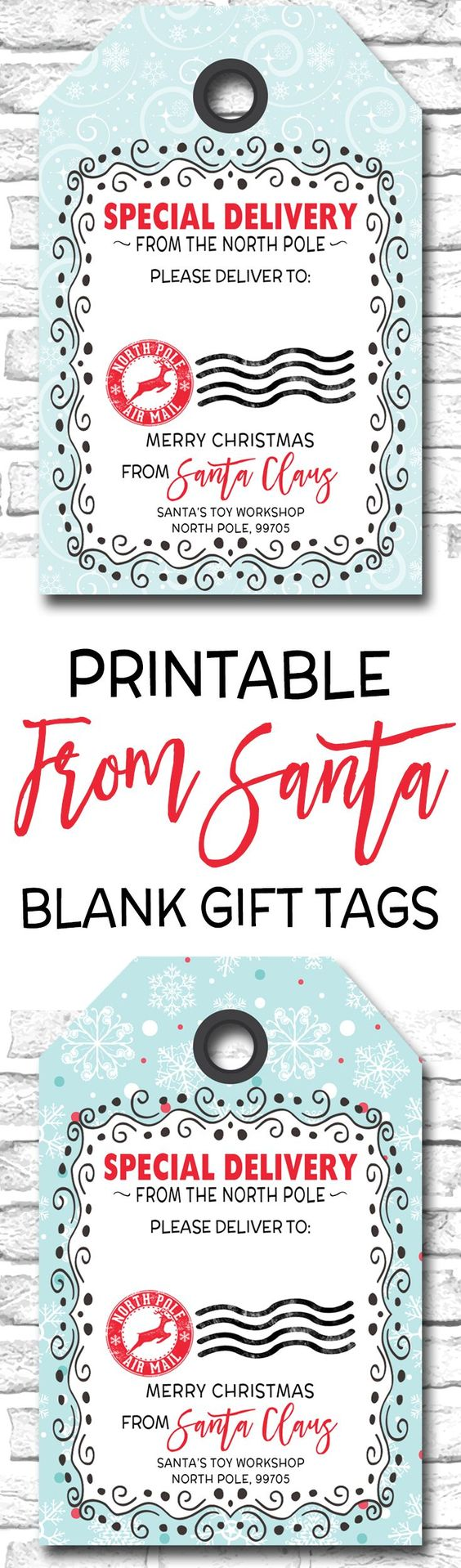 printable holiday gift tags blank from santa gift tags
