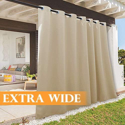 New Ryb Home Large Outdoor Curtain Panels Rustic Patio Curtains Withstand Weather Summer Heat Block Panel Sliding Glass Door Corridor Porch Terrace 100 Wide X In 2020 Outdoor Curtains For Patio Porch Curtains Outdoor