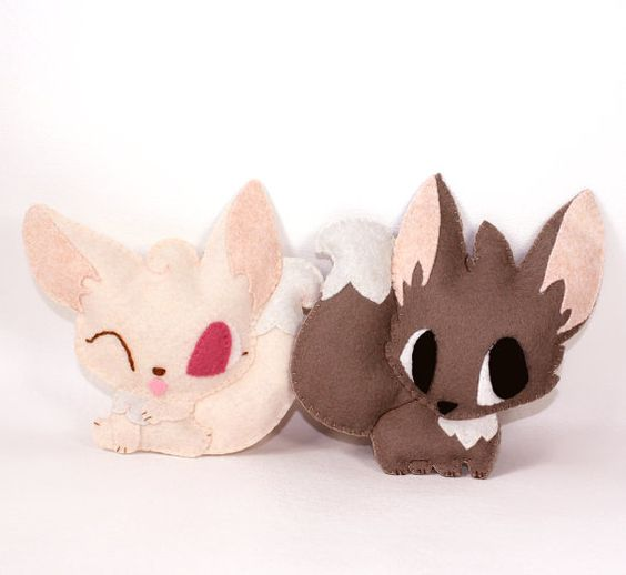 Easy beginner felt plushie sewing pattern pdf fennec fox for Felt plushie templates