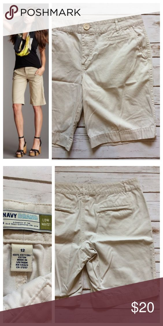 """Walking Shorts Classic cotton walking shorts in light khaki. Simple button/zip front closure with banded waist and long 10"""" inseam. Flat front and back slit pockets. Very subtle pin-striping throughout. Size 12, sits at low waist, 17.5"""" waistband. Good condition by Old Navy Old Navy Shorts"""