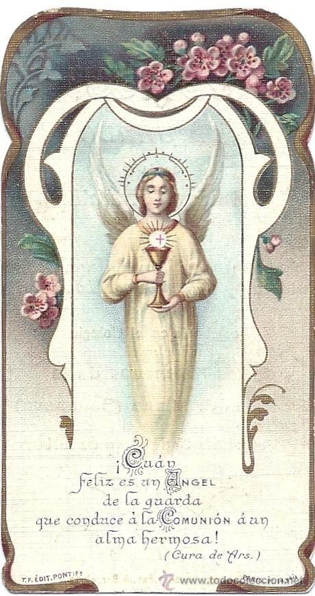 P034 - ANTIGUA ESTAMPA RELIGIOSA - CANTOS TROQUELADOS - 10,7X5,7 CM- DATA 1911 (Postales - Religiosas y Recordatorios)