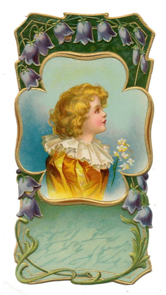 Ellen Clapsaddle Die Cut - Victorian Boy with White Flower Trim: