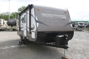 """2017 Heartland Trail Runner TR 33 IKBS Stock: 16631 One-Piece, Seamless Rubber Roof Two Outside Speakers *ADDED OPTIONS** 15000 A/C IPO 13,500 A/C 28"""" LED FLAT SCREEN TV AM/FM/CD/DVD PLAYER BIKE RACK BLACK TANK FLUSH EXTERIOR SHOWER HEATED AND ENCLOSED UNDERBELLY NIGHT SHADES IN LIVING AREA AND BEDROOM POWER AWNING POWER STABILIZER JACKS(2 PAIR) POWER TONGUE JACK REAR LADDER RVIA SEAL SPARE TIRE AND CARRIER"""