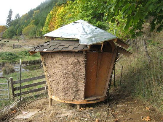 """Little Cob Hut In Forest - this would be a great """"fort"""" project to do with kids"""