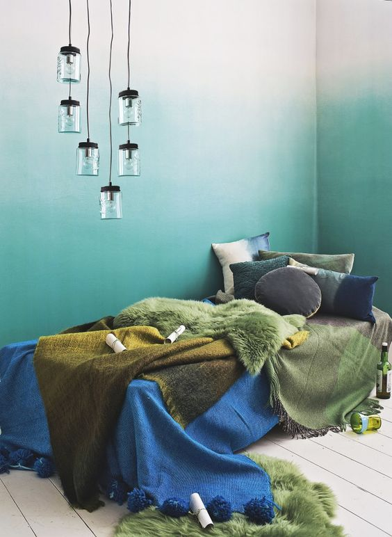 Designers guild ombr wallpaper beautiful colors Ombre aqua wallpaper