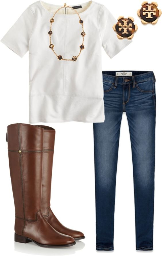 White Leather by alexkay98 featuring dark wash jeans ❤ liked on PolyvoreJ Crew top / Abercrombie & Fitch dark wash jeans / Tory Burch oliver boots, $740 / Tory Burch tortoise shell earrings / Tory Burch medallion necklace