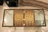 AMAZING Karl Springer brass table  with pattern made out of feathers!!!