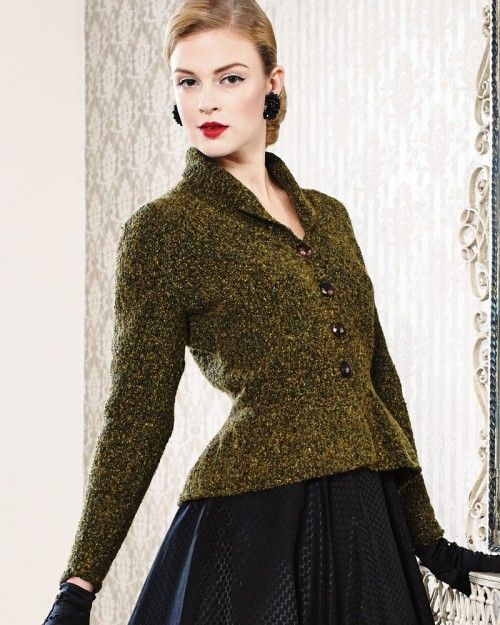 Knitting Pattern Peplum Cardigan : Peplum Jacket from Debbie Bliss Magazine #11 at KnittingFever.com The coat wi...