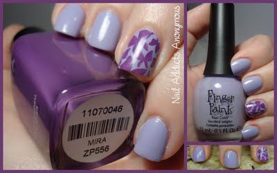 """""""FingerPaints~ Aren't You Glad-iolous? from the Palette of Petalscollection of Spring 2011. Then I stamped the butterfly design on my ring fingers usingBM205fromBundle Monster's second plate set. I stamped with Zoya's Mirafrom the Summertime collection. Mirais described as a blue toned medium purple with dusty lavender tones."""""""