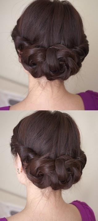 Wedding Hairstyles ~ Sleek plaid updo. @Kristin Box what do you think?? - for me