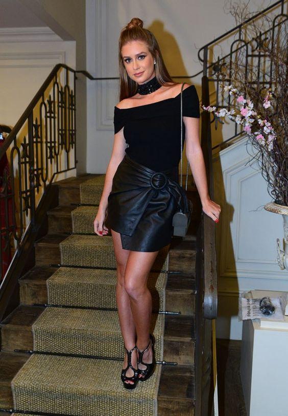 Marina Ruy Barbosa em look total black para evento fashion