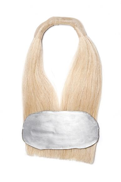 "Agnes Larsson, necklace, hair jewelry - Remains 9, 2015, necklace, calf skin, aluminum, horse hair, 16 x 9 x 1.25 inches (""Agnes Larsson - Remains"" EXHIBITION at Ornamentum gallery  August 8 – September 7, 2015 ):"