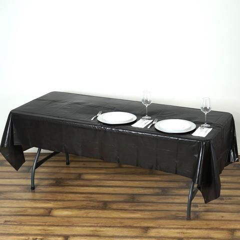 54 X 108 Black 10mil Thick Disposable Plastic Vinyl Rectangular Tablecloth In 2020 Chair Covers Damask Tablecloth Decor