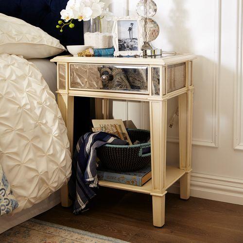 Hayworth Mirrored Antique White Nightstand White Nightstand Antique Decor Bedroom Bed Furniture