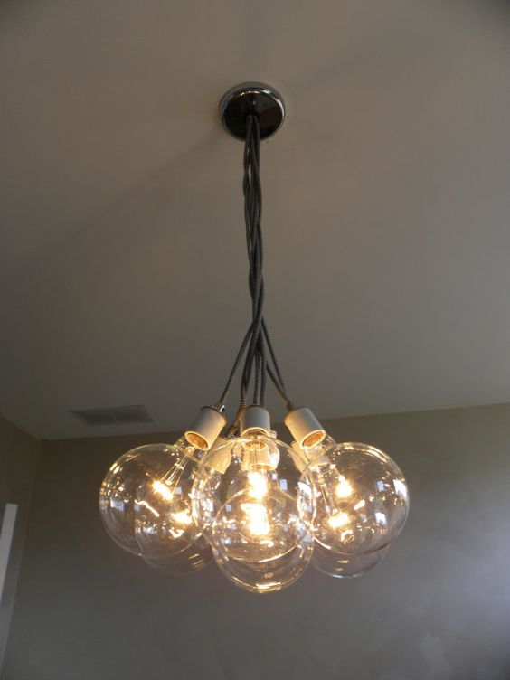 7 Cluster Hanging Light Chandelier Pendant Lighting Modern Chandelier Cloth Cords Industrial