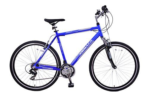 AMMACO CS150 19″ ALLOY FRAME FRONT SUSPENSION 21 SPEED 700C WHEEL MENS HYBRID BIKE BLUE