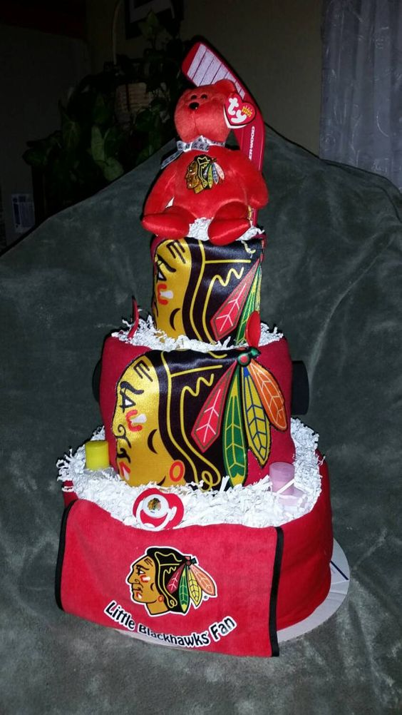 Check out this item in my Etsy shop https://www.etsy.com/listing/209512532/blackhawks-diaper-cake