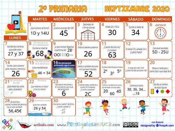 Calendario Segundo ABN – Septiembre 2020