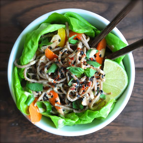 Noodle Cabbage Bowl with thai ginger peanut dressing