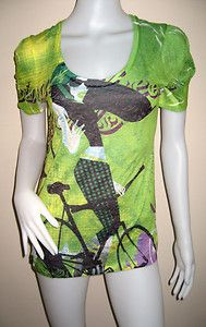 New without tags CUSTO BARCELONA women's short sleeve green top t-shirt Size 2