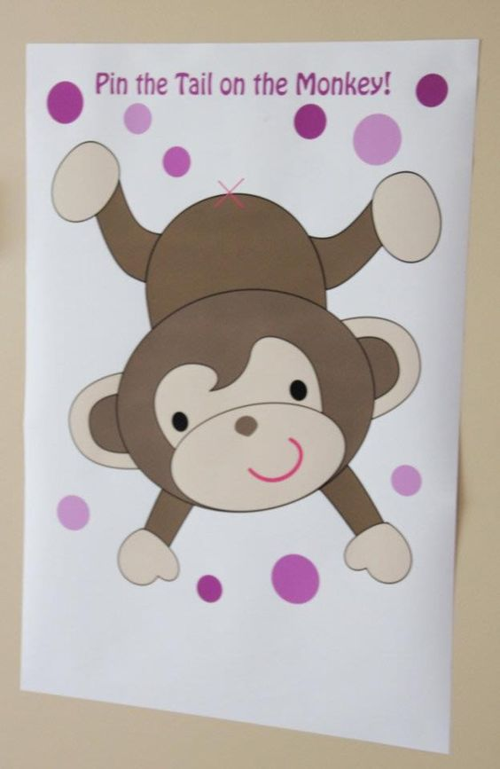 monkey birthday cake template - pin the tail on the monkey game draw if possible in lsp