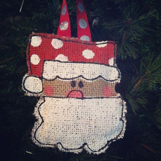 Santa Christmas Ornament- Burlap Christmas ornament, Christmas, Ornamnets, Personalized Ornaments by AllThingsareBrite on Etsy