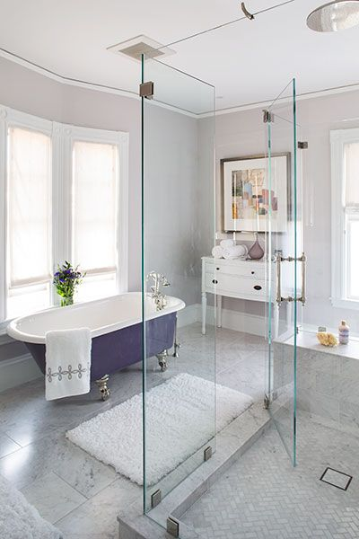 The belmont victorian house project after accent colors for Aubergine bathroom ideas
