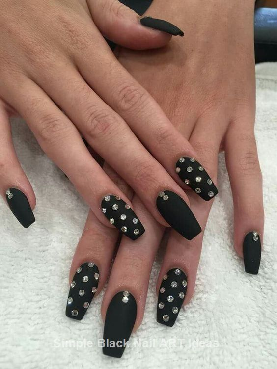 20 Simple Black Nail Art Design Ideas Black Nail Designs Nails Design With Rhinestones Rhinestone Nails