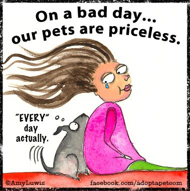 How true is this?! On our best days our pets are there to share in our joy, and on our worst days they help to take away the pain. Right?  We love this illustration by Redandhowling.com!