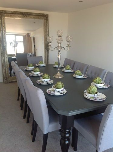 10 seater large dining table high gloss black painted top made to