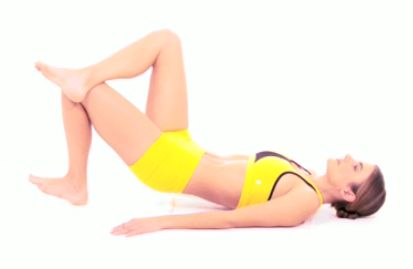 Pelvic Scoop: Lay on your back and place your hands flat on the floor. Cross one leg. Next push with your heel and raise your hips off the ground while keeping your stomach tight. Breath out as you raise your hips to help contract your lower abs. Repeat this for 30 seconds on each side.