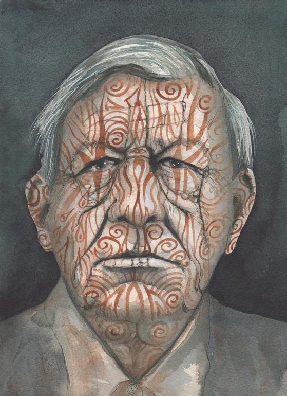 """Saatchi Online Artist: Dominic Murphy; Watercolor, 2012, Painting """"Tribesman """""""